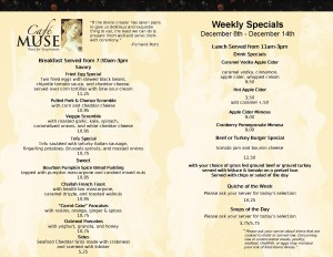 Weekly Specials Daily, 7:30am-3pm